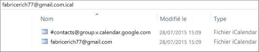 Image d'un calendrier exporté suite à sa décompression