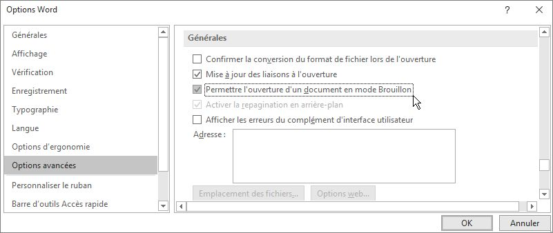 Option Confirmer la conversion du format de fichier lors de l'ouverture