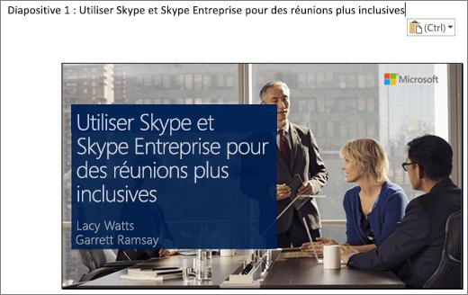 Capture d'écran d'un nouveau document Word affichant Diapositive1 en guise de titre de diapositive. La diapositive figurant dans cette image contient le titre de la diapositive, les noms des présentateurs ainsi qu'une image d'arrière-plan représentant des hommes ou des femmes d'affaire autour d'une table de conférence.