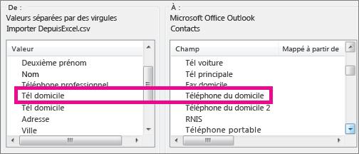 Mapper les champs du fichier d'importation aux champs d'Outlook