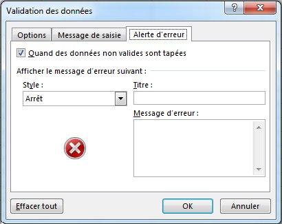 Entrez le message à afficher si la liste déroulante ne fonctionne pas correctement dans Excel