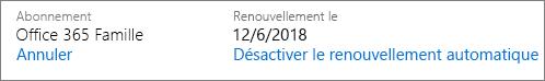 Date à laquelle l'abonnement est renouvelé automatiquement.