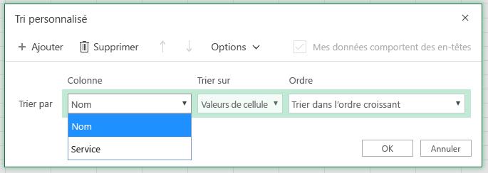 Boîte de dialogue Tri personnalisé avec le tri par colonne est sélectionné dans la colonne «Nom»