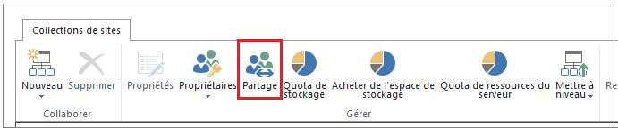 Ruban du Centre d'administration SharePoint Online avec le bouton Partage mis en évidence