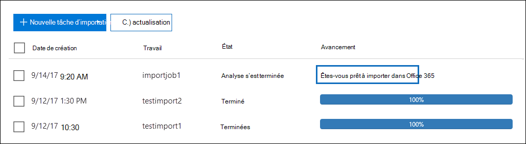 Cliquez sur êtes-vous prêt à importer en regard de la tâche d'importation que vous avez créé dans Office 365