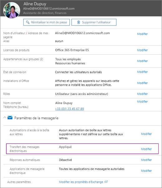 La capture d'écran montre la page de profil utilisateur pour l'utilisatrice Allie Bellew, avec l'option Transfert du courrier définie sur Appliqué et une option de modification disponible.