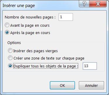 Boîte de dialogue pour insérer une page dans Publisher