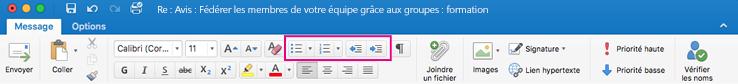 Boutons de liste sur le ruban d'Outlook pour Mac