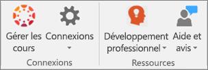Liste d'icônes comprenant Gérer les cours, Connexions,