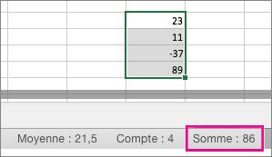 Sélectionner une colonne de nombres pour afficher leur somme en bas de la page