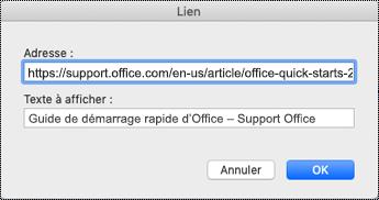 Boîte de dialogue Lien hypertexte sur Mac