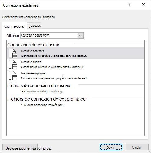 La boîte de dialogue Connectios existant dans Excel affiche la liste des sources de données actuellement en cours d'utilisation dans le fichier de calcul