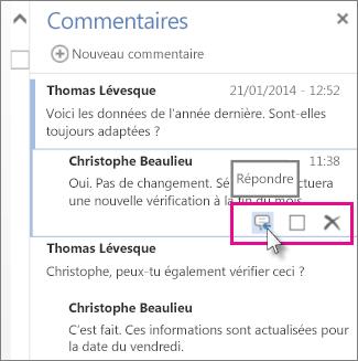 Image de la commande Répondre sous le commentaire dans le volet Commentaires dans Word Web App.