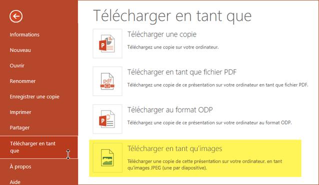 Vous pouvez enregistrer une copie de votre présentation comme un ensemble de fichiers image JPG