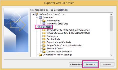 Sélectionnez les contacts que vous voulez exporter.