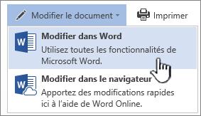Document Word ouvert à partir d'une bibliothèque SharePoint avec l'option Modifier dans Word mise en évidence