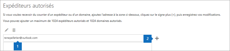 Capture d'écran de la page des Expéditeurs approuvés.