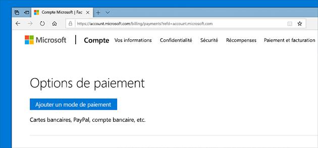 Modifier les options de paiement dans un compte Microsoft