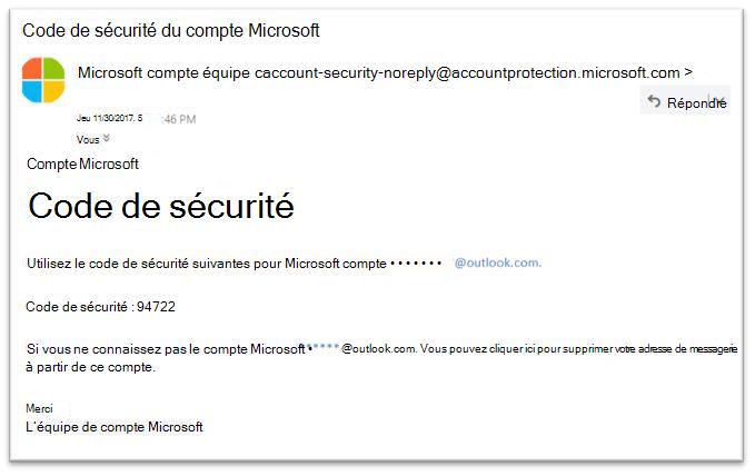 Réinitialisation de mot de passe légitimes Microsoft