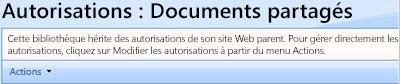 Page des autorisations pour la bibliothèque de documents partagés.