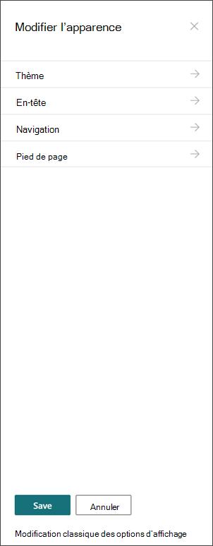 Image du volet de modification de l'affichage