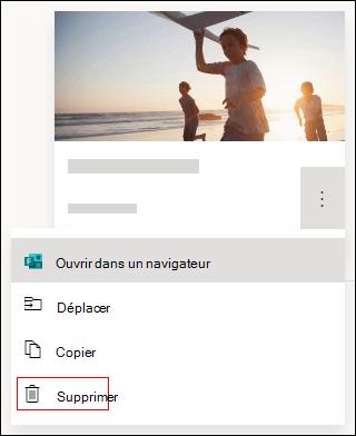 Option Supprimer dans un formulaire dans Microsoft Forms.