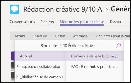 Sections de blocs-notes pour la classe