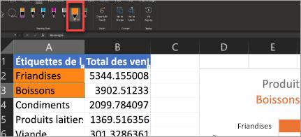 Affiche le stylet d'action dans Excel