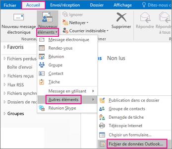 Sélectionnez Nouveaux éléments > Autres éléments > Fichier de données Outlook.