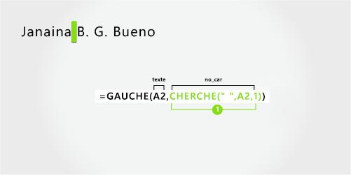 Formule pour séparer le prénom, le nom et deux initiales au milieu
