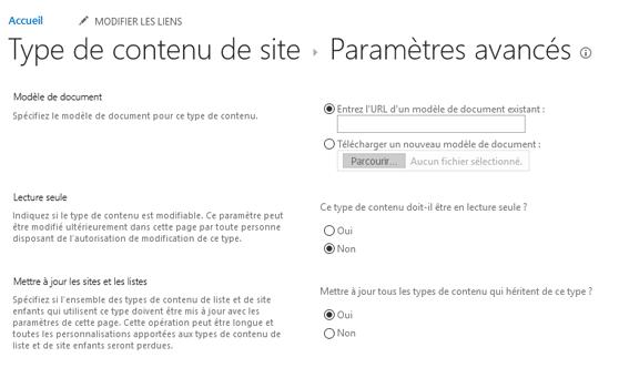 Entrez l'URL du modèle de document dans type de contenu de site: page Paramètres avancés