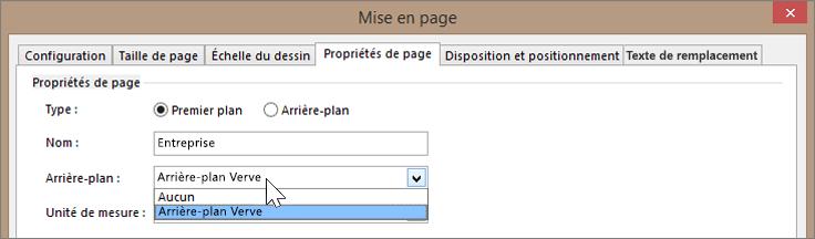 Capture d'écran de Mise en page > Propriétés de la Page avec arrière-plan Verve sélectionné dans la liste déroulante des arrière-plans
