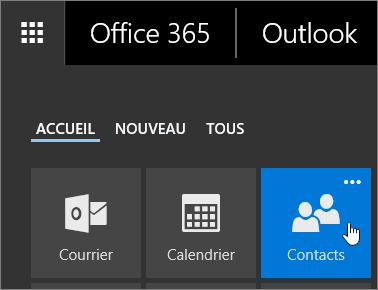 Capture d'écran du curseur pointant sur la vignette Contacts dans le lanceur d'applications Office365.