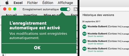 Ruban Excel avec la bulle AutoSave sur la gauche, et une liste d'historique des versions sur la droite