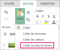 Option Coller la mise en forme