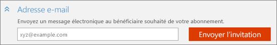 Capture d'écran en gros plan de la section «Courrier électronique» de la boîte de dialogue «Ajouter une personne» avec le bouton «Envoyer l'invitation».