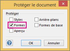 Option Formes cochée dans la boîte de dialogue Protéger le document dans Visio2016