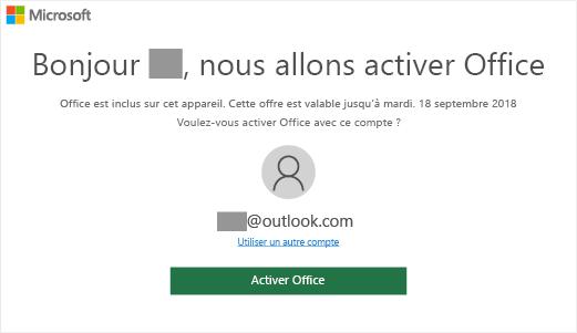 Affiche l'écran d'activation d'Office indiquant la présence d'Office sur cet appareil