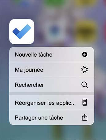 Le menu action rapide est ouvert avec l'option d'ajout d'une nouvelle tâche, d'ajouter à ma journée ou de rechercher une tâche