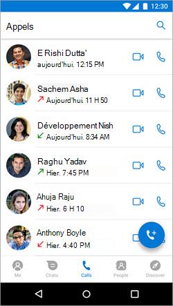 Capture d'écran du démarrage d'un appel à partir de l'onglet appels dans Kaizala