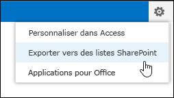 Commande Exporter vers des listes SharePoint dans le menu Paramètres (icône d'engrenage)