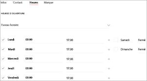 Capture d'écran: Page des heures d'ouverture du profil d'entreprise: Ajoutez les heures d'ouverture de votre entreprise