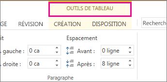 Image de la commande Outils de tableau qui s'affiche en haut du ruban lorsque vous cliquez n'importe où dans un tableau.