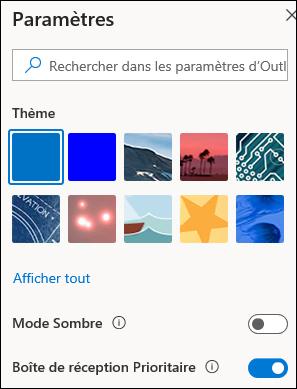 Capture d'écran illustrant le volet paramètres avec l'option boîte de réception prioritaire sélectionnée pour activation.