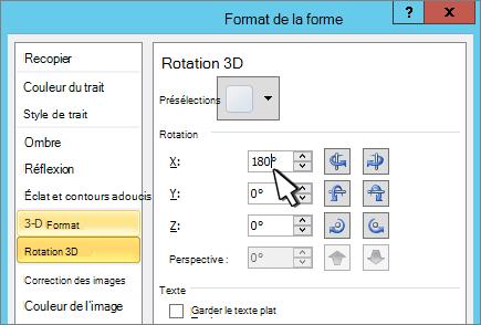 Boîte de dialogue Format de la forme avec l'option Rotation 3D X sélectionnée