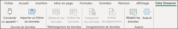 Complément Data Streamer sur menu du ruban Excel