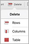 menu de suppression de table iPad