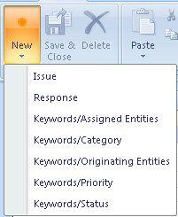 Formulaires Mot clé dans le menu déroulant Nouveau formulaire