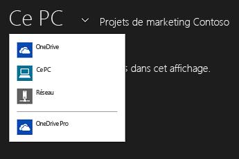 Sélectionner OneDrive Entreprise à partir d'une autre application