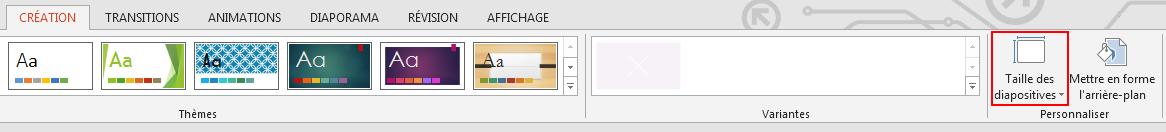 Dans l'onglet Création, dans le groupe Personnaliser, cliquez sur Taille des diapositives.
